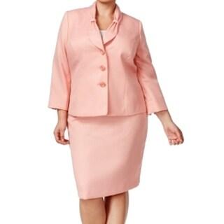 Le Suit NEW Pink Women's Size 16W Plus 3-Button Knit Skirt Suit Set