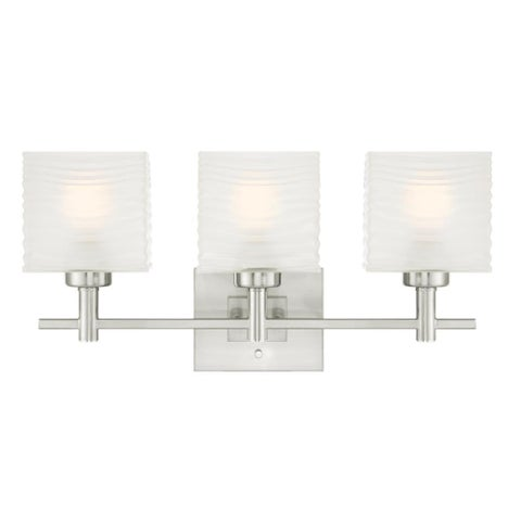 "Westinghouse 6304000 Alexander 23"" Wide 3 Light Bathroom Vanity Light with Glass Shades - Brushed nickel"