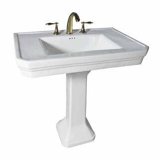 White Large Vitreous Victorian Pedestal Sink with Widespread Faucet Holes