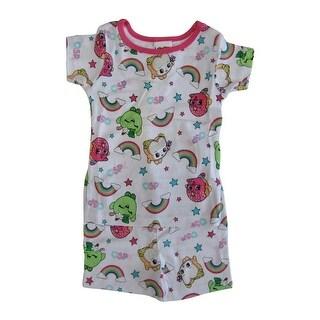 Shopkins Girls White Print Short Sleeve Two Piece Pajama Set