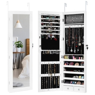 Costway Wall Door Mounted Mirror Jewelry Cabinet Organizer LED Light