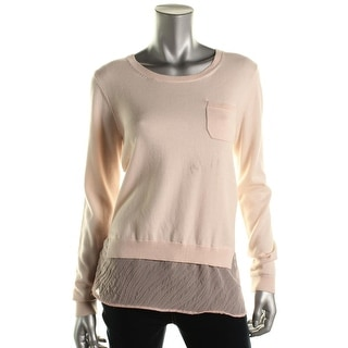 French Connection Womens Knit Sheer Trim Pullover Sweater - L