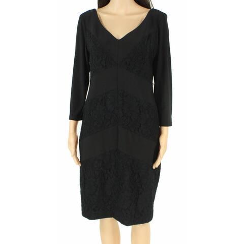 Lauren by Ralph Lauren Womens Sheath Dress Black Size 0 Chevron Lace