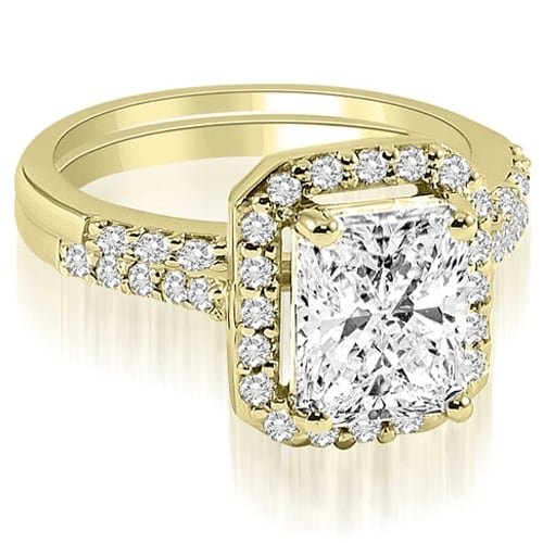 1.06 cttw. 14K Yellow Gold Emerald And Round Cut Halo Diamond Bridal Set