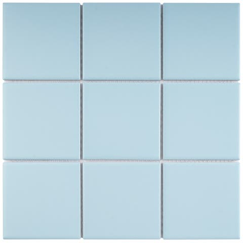 "TileGen. 4"" x 4"" Porcelain Mosaic Tile in Soft Cloud Floor and Wall Tile (11 sheets/10.56sqft.)"