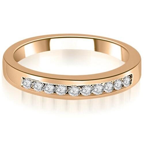 0.25 cttw. 14K Rose Gold Channel Set Round Cut Diamond Wedding Band,HI,SI1-2