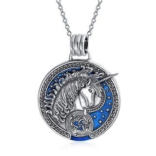 Pegasus Medallion Celestial Blue Mythical Unicorn Pendant Necklace For Women For Men Oxidized 925 Sterling Silver