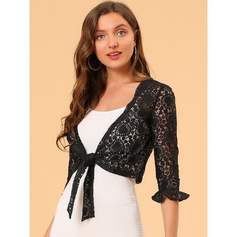 Women Ruffled Sleeve Tie Front Heart Lace Shrug Top