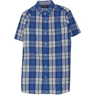 Nautica Mens Plaid Pocket Button-Down Shirt - S