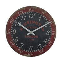 London Kensington Station Distressed Vintage Finish Round Wooden Wall Clock
