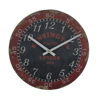 London Kensington Station Distressed Vintage Finish Round Wooden Wall Clock
