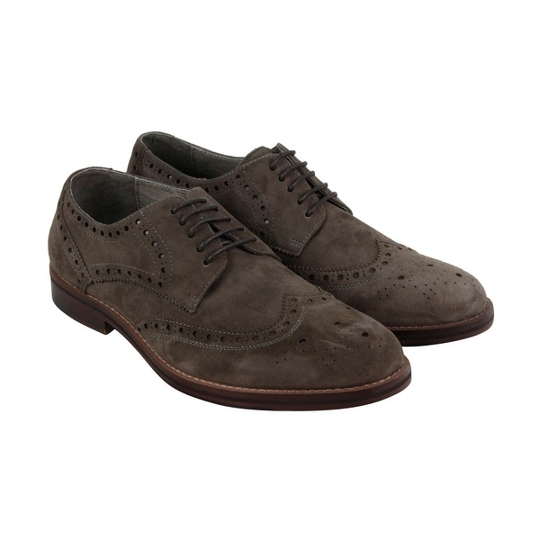 Kenneth Cole New York Design 10071 Mens Gray Suede Casual Dress Oxfords Shoes