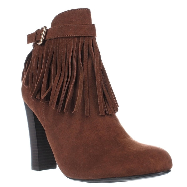 MG35 Persia Fringe Dress Ankle Boots, Cognac