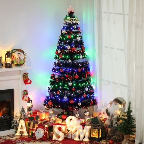 Artificial Christmas Tree Multi-Colored Fiber Optic LED Pre-Lit Holiday Home Decoration