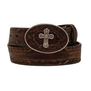 Nocona Western Belt Womens Leather Pierced Cross Buckle Brown N3413002