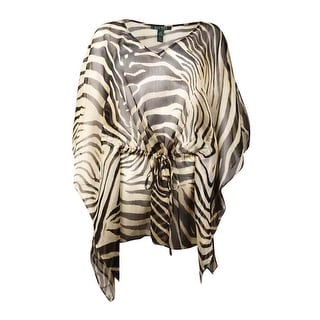 Lauren Ralph Lauren Women's Animal Print Drawstring Waist Blouse (M, Multi) - m