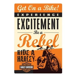 Harley-Davidson Get on a Bike Rebel Embossed Tin Sign, 10.5 x 15 inches 2010411