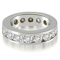Classic Heavy Channel 3.40 ct.tw 14K White Gold Round Cut Anniversary Channel Eternity Band