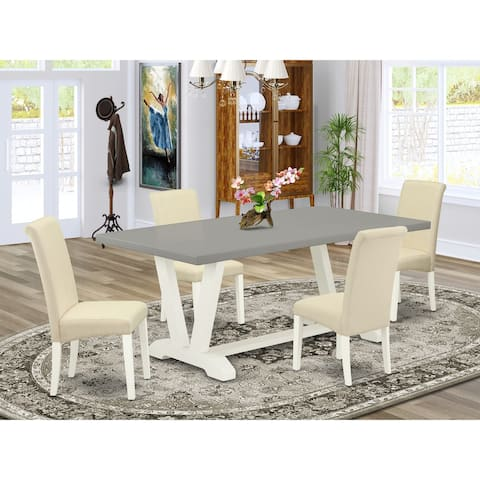 Dining set with Cement Finish Table and Linen Fabric Cream Dining Chairs with Roll Back - (Pieces and Bench Option)