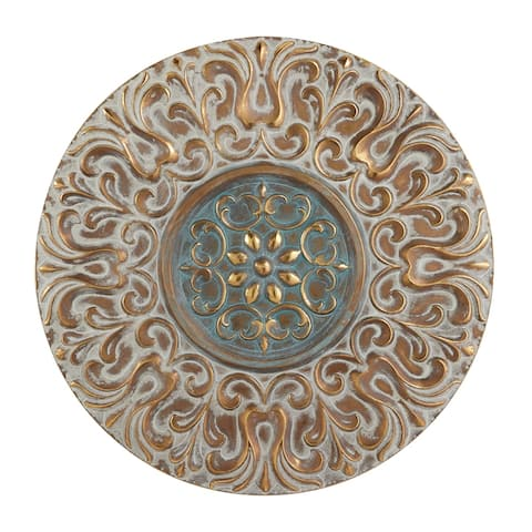 "Round Antique Gold Metal Wall Decor With Light Green Textured Pattern Center 32"" X 32"""