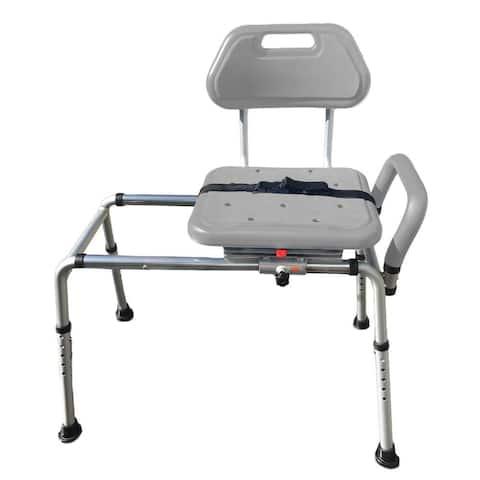 Platinum Health Gateway Premium Sliding Bath Shower Chair Transfer Bench Padded with Swivel Seat - Grey