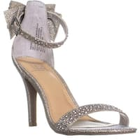 MG35 Beverly Back Bow Ankle Strap Sandals, Silver