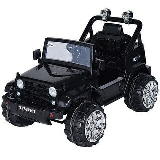 Costway 12V Kids Ride on Truck Jeep Car RC Remote Control w/ LED Lights Music MP3 Black