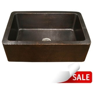 "Houzer HW-COP1 Hammerwerks 32-3/8"" Single Basin Farmhouse Hammered Copper Kitchen Sink with Apron Front"