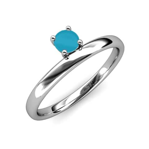 TriJewels Turquoise 1/3 ct Womens Solitaire Stackable Ring 14K Gold