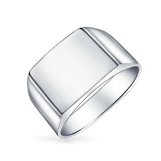 Bling Jewelry Mens Sterling Silver Square Classic Signet Ring Band