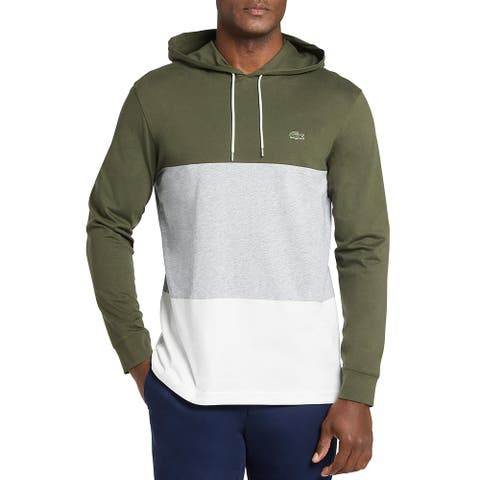 Lacoste Mens Hoodie Cotton Colorblock - Green - 3XL