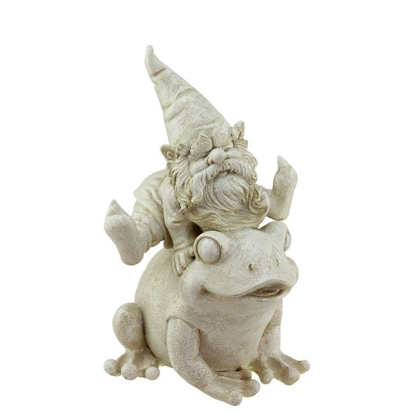 "9.75"" Distressed Ivory Frog and Gnome Outdoor Patio Garden Statue"
