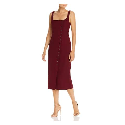 FAME AND PARTNERS Maroon Spaghetti Strap Below The Knee Dress 6