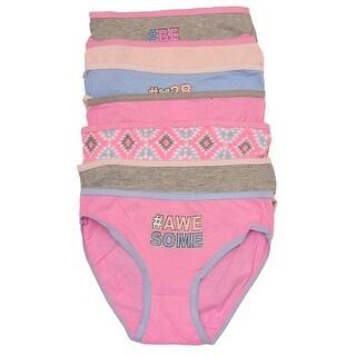 Sweet n Sassy Girls Pink Gray Geometric Letter Print 7 Underwear Pack