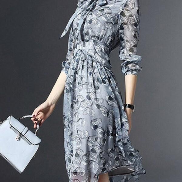 473dba248f Shop Light Blue Floral 3/4 Sleeve Chiffon V Neck Midi Dress - Free ...