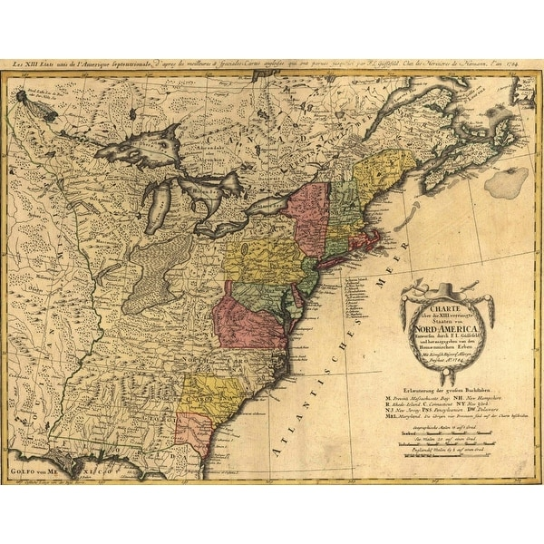 Shop Map Showing The Newly Independent United States In 1784 ...
