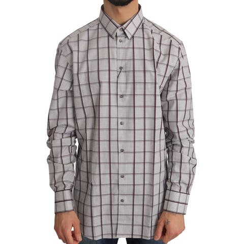 White Cotton GOLD Bordeaux Checkered Men's Shirt - 43