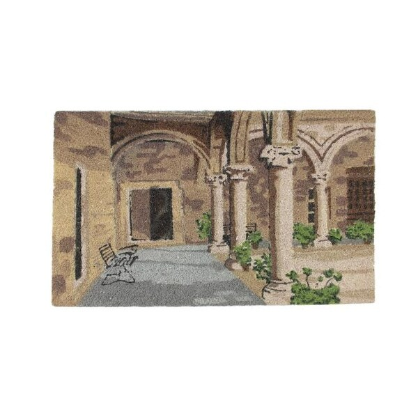"Brown Green and Black Decorative Coir Outdoor Rectangular Door Mat 29.5"" x 17.75"""