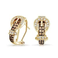 Bling Jewelry Gold Plated Coffee CZ Belt Buckle Omega Clip Earrings