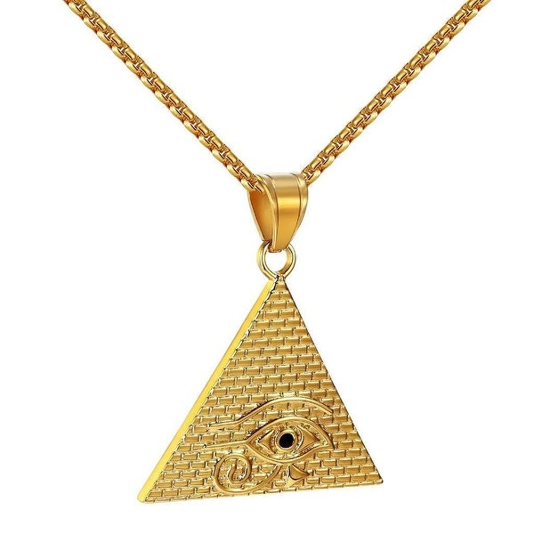 Illuminati Egyptian Pyramid Pendant Evil Eye Stainless Steel Gold Tone Chain
