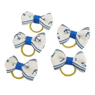Pet Dog Boat Pattern Hair Grooming Rubber Bands Clips Hairpins 5 Pcs Blue