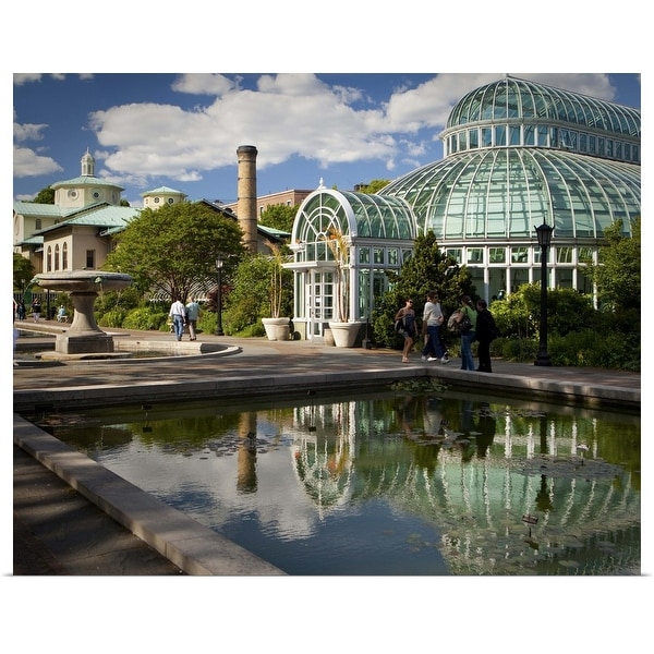 """""""Greenhouse and lily pond, Brooklyn Botanical Garden, NYC"""" Poster Print"""