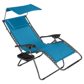 Just Relax Zero Gravity Chair With Pillow, Canopy, And Clip-On Table, Blue