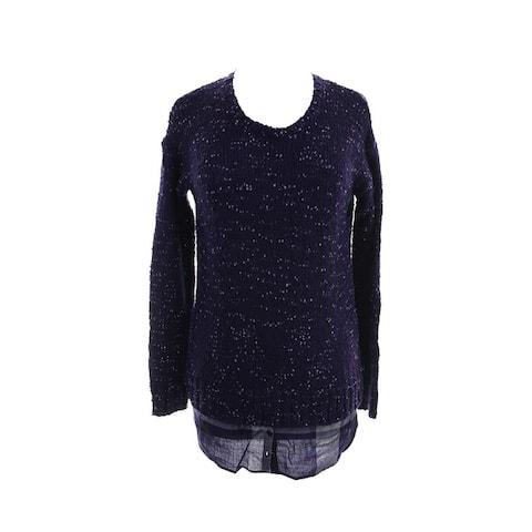 Kensie Midnight Purple Long-Sleeve Nep-Knit Layered-Look Sweater XS