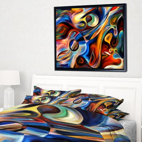 Designart 'Abstract Music and Rhythm' Abstract Framed Canvas Art Print