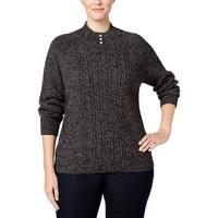 Karen Scott Womens Plus Mock Turtleneck Sweater Ribbed Trim Long Sleeves