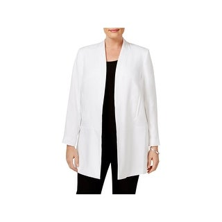 Calvin Klein Womens Plus Blazer Long Open Front