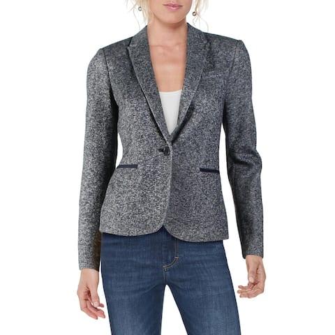 Tommy Hilfiger Womens One-Button Blazer Marled Elbow Patch - Grey