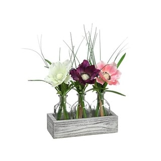 "Set of 3 Ivory, Purple and Pink Artificial Anemone Flowers in Clear Glass Vase 12"" - multi"