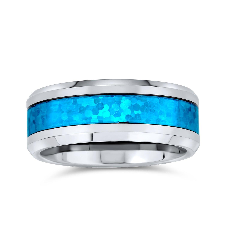 Unique 8mm Blue Brushed Mens Wedding Band TR692